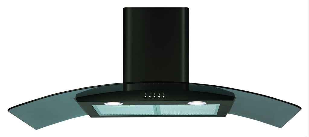CDA ECP102BL 100cm Curved Glass Hood Black - Moores Appliances Ltd.