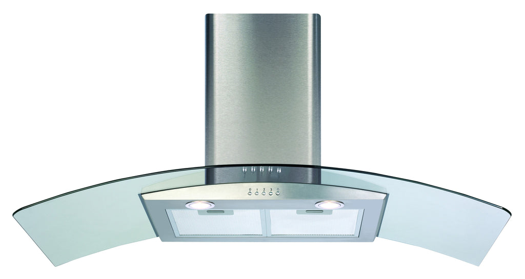 CDA ECP102SS 100cm Curved Glass Hood Stainless Steel - Moores Appliances Ltd.