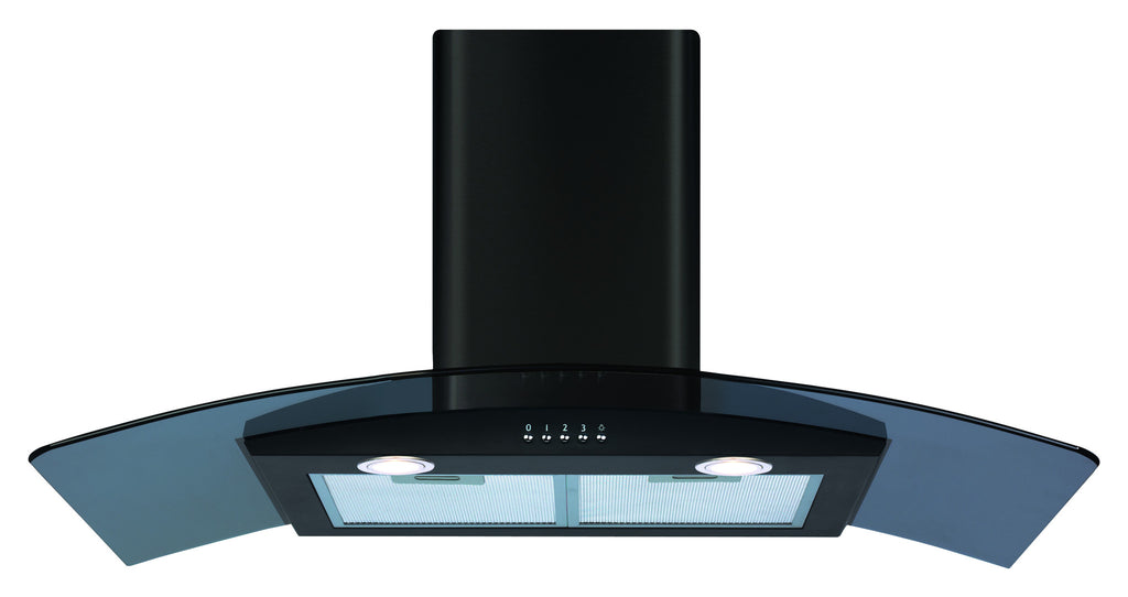CDA ECP92BL 90cm Curved Glass Hood Black - Moores Appliances Ltd.