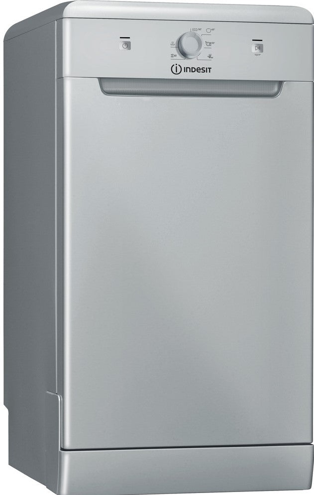 Indesit DSFE1B10SUKN Slimline Dishwasher - Silver - F Rated