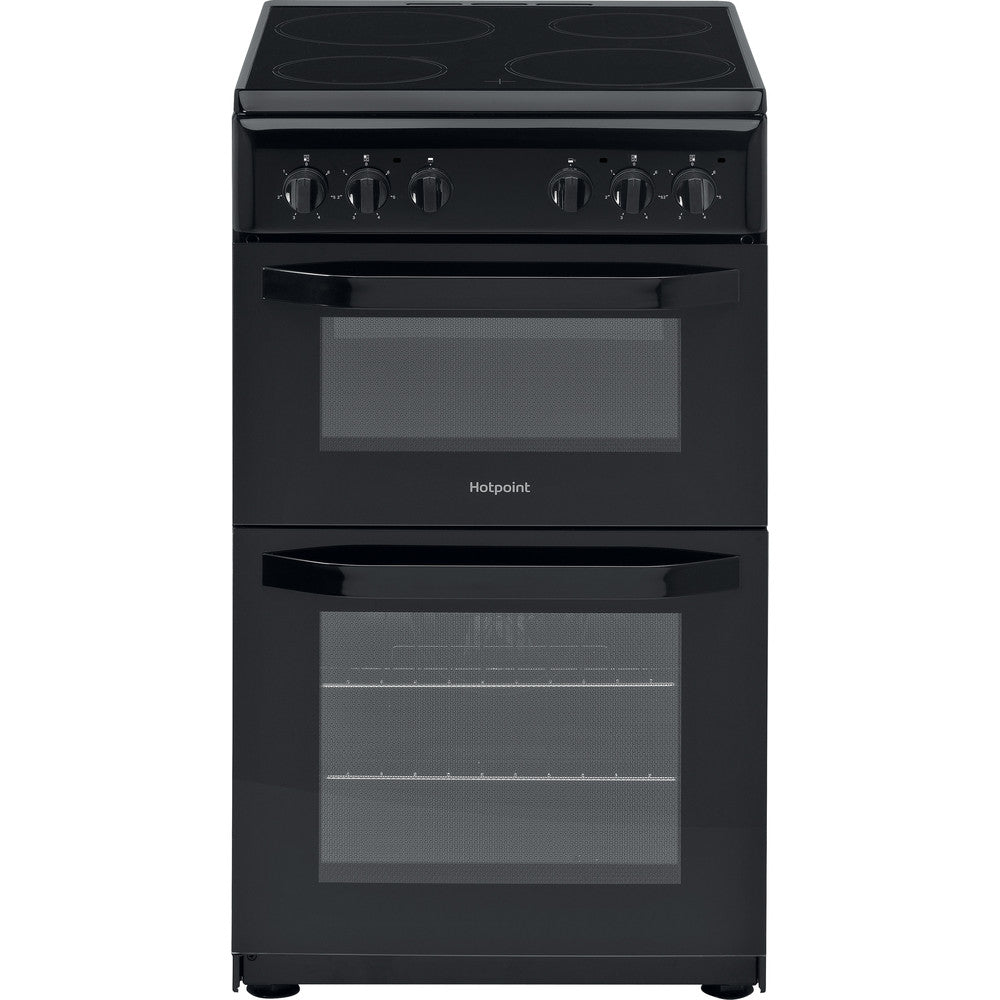 Hotpoint HD5V92KCB 50cm Electric Cooker with Ceramic Hob - Black