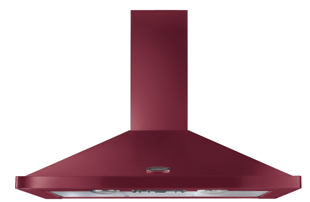 Rangemaster LEIHDC110CY/C 110 Chimney Hood Cranberry with Chrome Trim