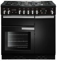 Rangemaster Professional Plus PROP90DFFGB/C 90cm Dual Fuel Range Cooker - Black/Chrome Trim