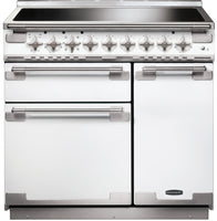 Rangemaster Elise ELS90EIWH 90cm Electric Range Cooker with Induction Hob - White/Brushed Chrome Trim