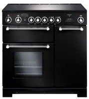 Rangemaster Kitchener KCH90ECBL/C 90cm Electric Range Cooker with Ceramic Hob - Black/Chrome Trim