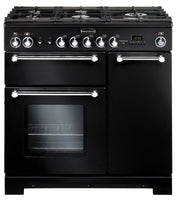 Rangemaster Kitchener KCH90DFFBL/C 90cm Dual Fuel Range Cooker - Black/Chrome Trim