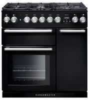 Rangemaster Nexus NEX90DFFBL/C 90cm Dual Fuel Range Cooker - Black/Chrome Trim