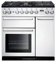 Rangemaster Nexus NEX90DFFWH/C 90cm Dual Fuel Range Cooker - White/Chrome Trim