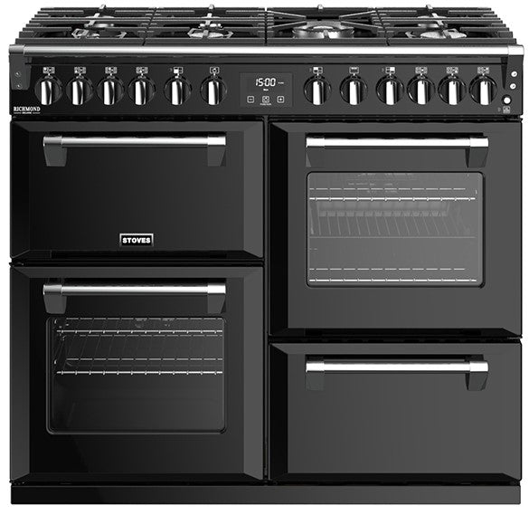 Stoves Richmond Deluxe S1000DF 100cm Dual Fuel Range Cooker - Black