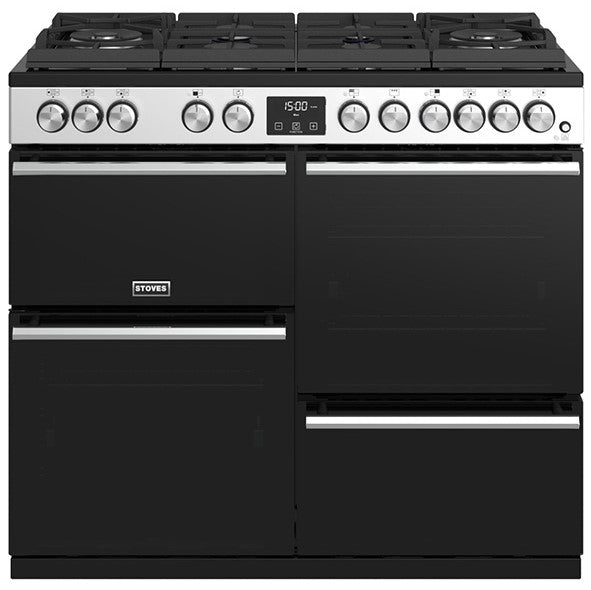Stoves Precision Deluxe S1000DF GTG 100cm Dual Fuel Range Cooker - Stainless Steel