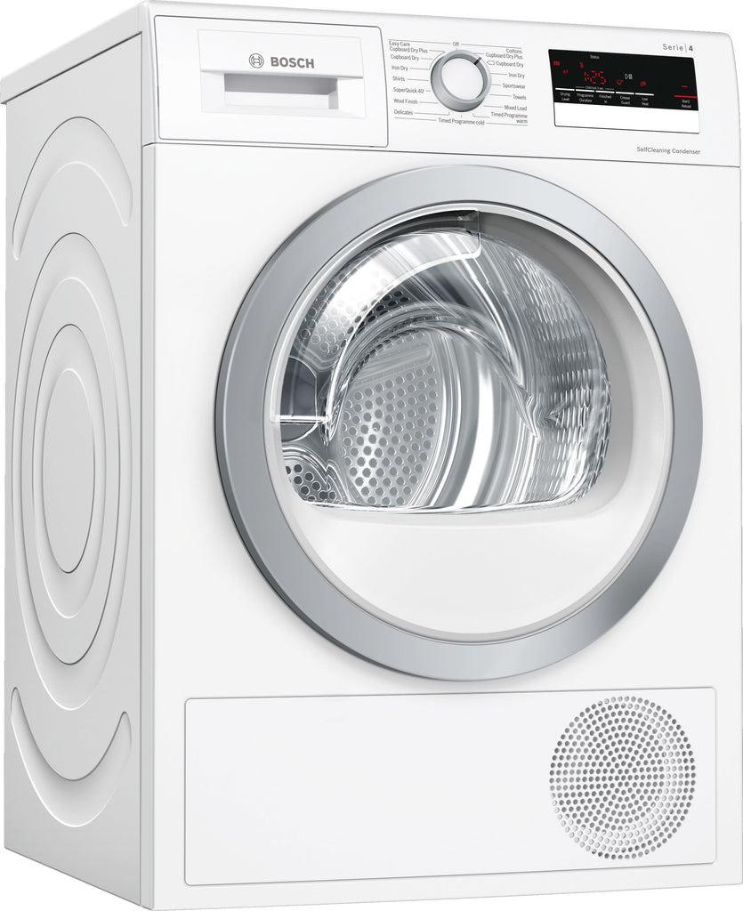 Bosch Serie 4 WTW85231GB 8Kg Heat Pump Condenser Tumble Dryer With Self Cleaning Condenser - White - A++ Rated