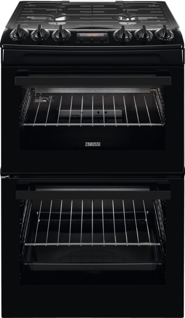 Zanussi ZCG43250BA 55cm Gas Cooker with Full Width Electric Grill - Black