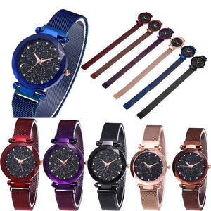 Hot Starry Sky Watch Waterproof Magnet Strap Stainless Steel Women Gift - Champagne Gold