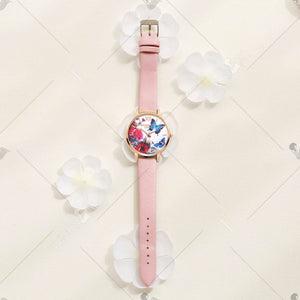 Lvpai P096-R Women Butterfly Flowers Dial Leather Band Wrist Watch