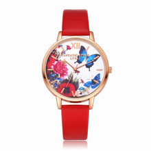 Load image into Gallery viewer, Lvpai P096-R Women Butterfly Flowers Dial Leather Band Wrist Watch