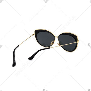 Vintage Metal Full Frame Embellished Cat Eye Sunglasses - Double Black