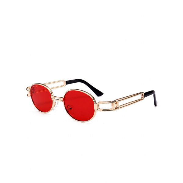 Punk Style Metal Full Frame Embellished Oval Sunglasses - Red