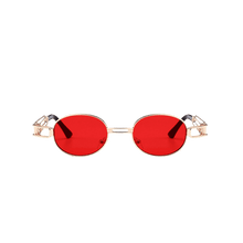Load image into Gallery viewer, Punk Style Metal Full Frame Embellished Oval Sunglasses - Red