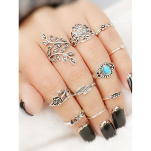10 Pcs Valentine's Day Flower Leaf Series Rings