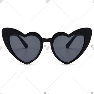 Full Frame Heart Shape Sunglasses - Black And Pink