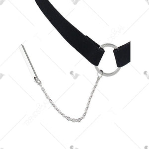 Chain Pendant Choker Necklace - Silver
