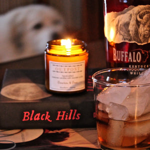 beeswax candle wooden wick Bourbon & Bees with man's best friend