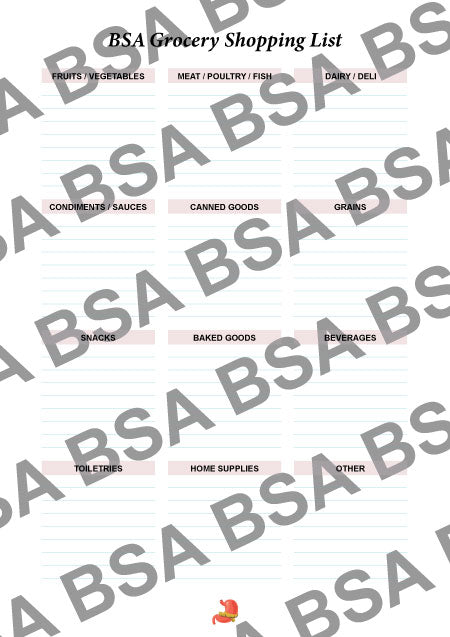 BSA Shopping List