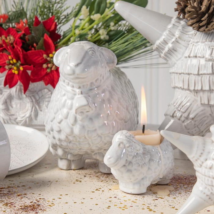 SHEEP TEA LIGHT; Crystal White