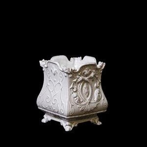 FRENCH SQUARE FLOWER BASE; Crystal White
