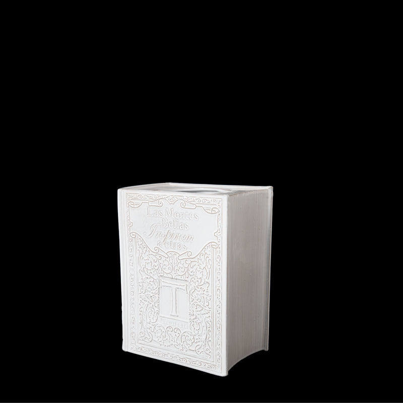 VERTICAL BOOK FLOWER BASE; Crystal White