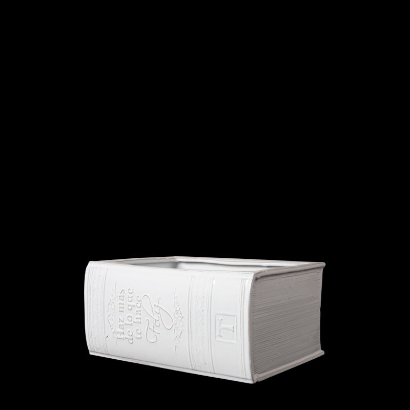 HORIZONTAL BOOK FLOWER BASE; Crystal White