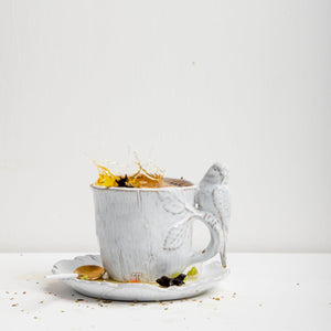 PARAKEET MUG WITH PRIMAVERA PLATE; Crystal White