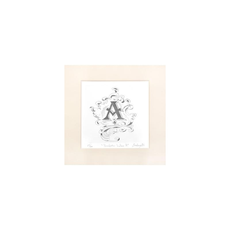 "ENGRAVED HERALDIC PRINT LETTER  ""A"" WITHOUT FRAME"