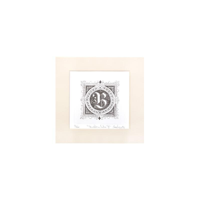 "ENGRAVED HERALDIC PRINT LETTER  ""B"" WITHOUT FRAME"