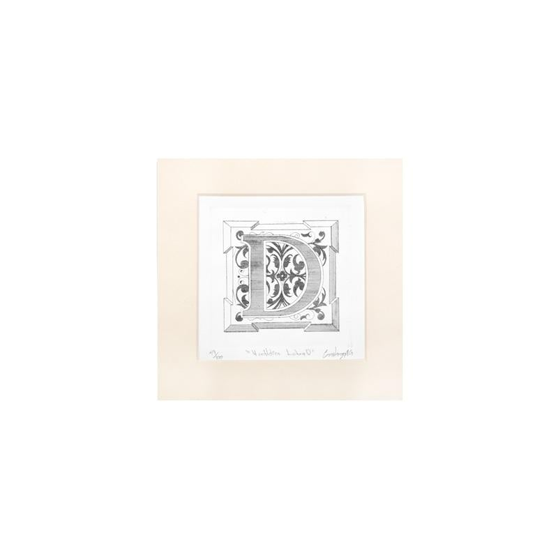 "ENGRAVED HERALDIC PRINT LETTER  ""D"" WITHOUT FRAME"