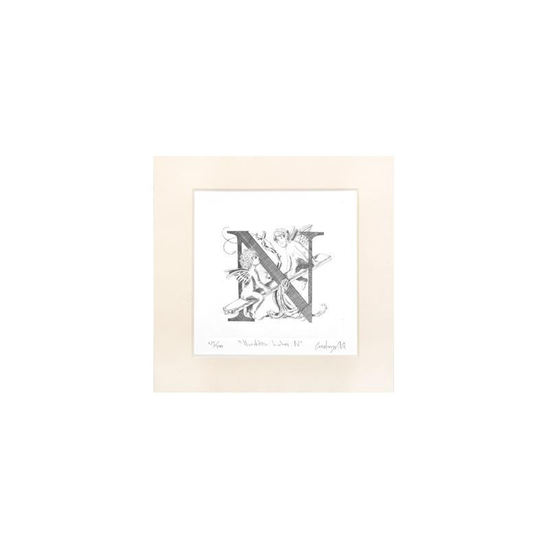"ENGRAVED HERALDIC PRINT LETTER  ""N"" WITHOUT FRAME"