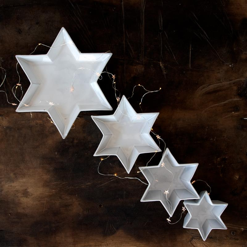SET OF 3 STAR PLATES; Crystal White