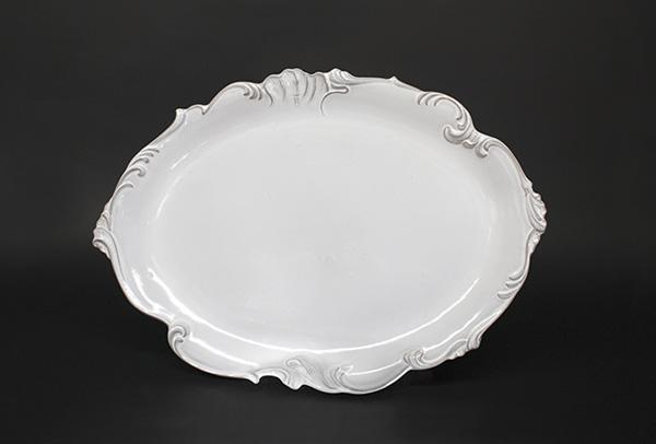 LARGE MEISSONIER PLATTER; Crystal White