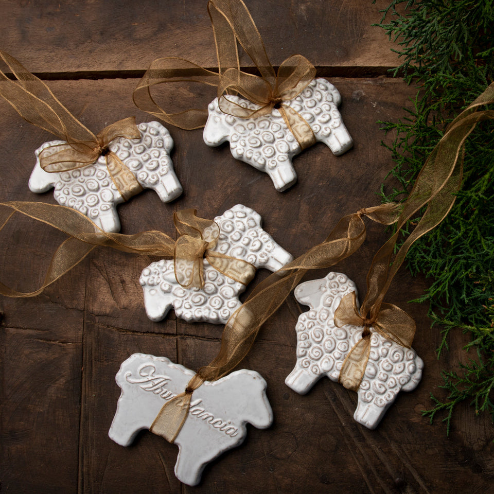SET OF 5 HANGING SHEEP, Crystal White