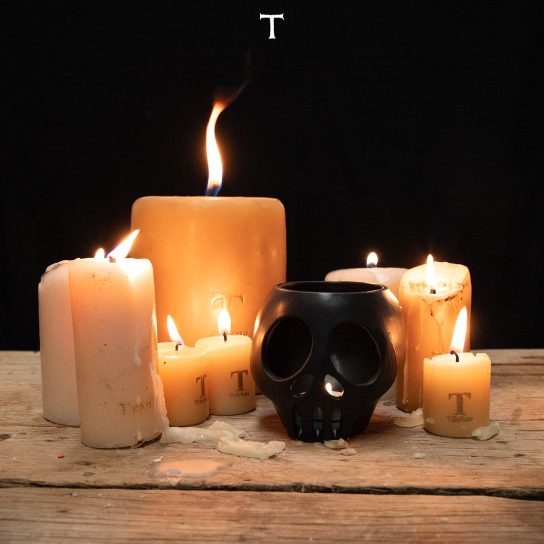 SMALL SKULL LANTERN W/CANDLE; Black Onix