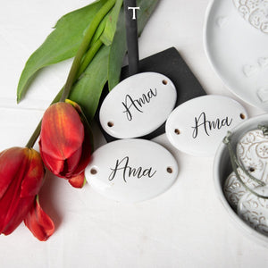 "SET OF 3 TAGS  ""AMA""; Crystal White"