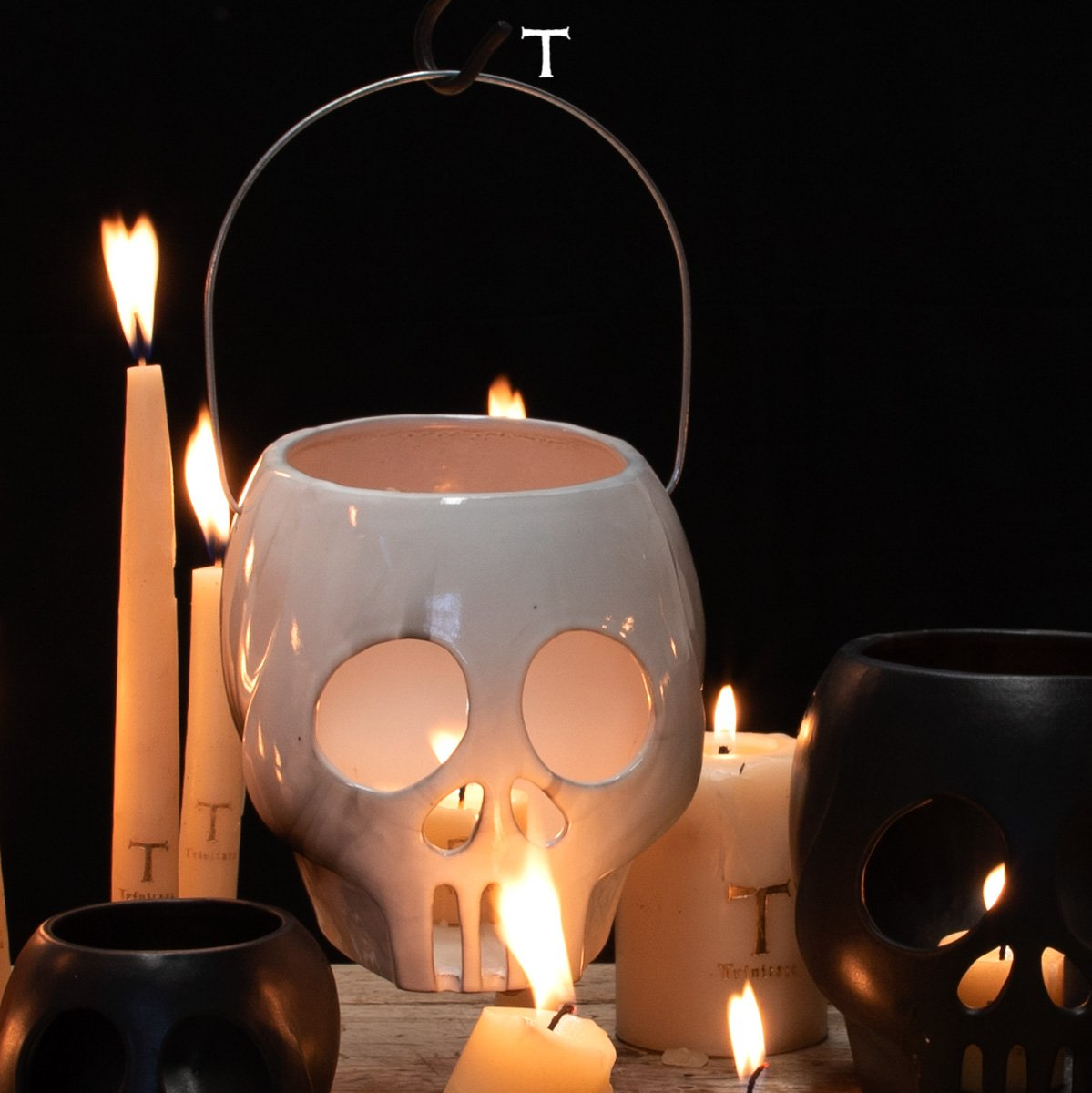 LARGE SKULL LANTERN W/CANDLE; Crystal White
