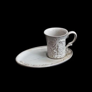 TEQUILA MUG WITH PLATE; White crystal