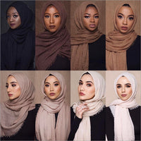 wholesale price 70*180cm women muslim crinkle hijab scarf femme musulman soft cotton headscarf islamic hijab shawls and wraps