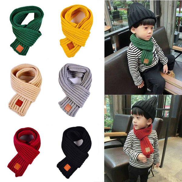 Fashion 2018 Winter Kids Scarves Warm Baby Boys Girls Scarf Solid Soft Scarf Collar Children Stretch Neck Ring