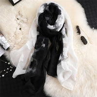 LaMaxPa 2019 New Fashion Women Cut Flowers Hollow Lace Gradient Silk Scarf Spring Shawls and Wraps Towel Femme Beach Sjaals