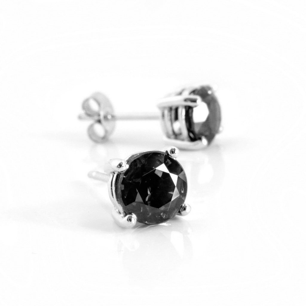 1 00ct One Carat Black Diamond Studs In Sterling Silver