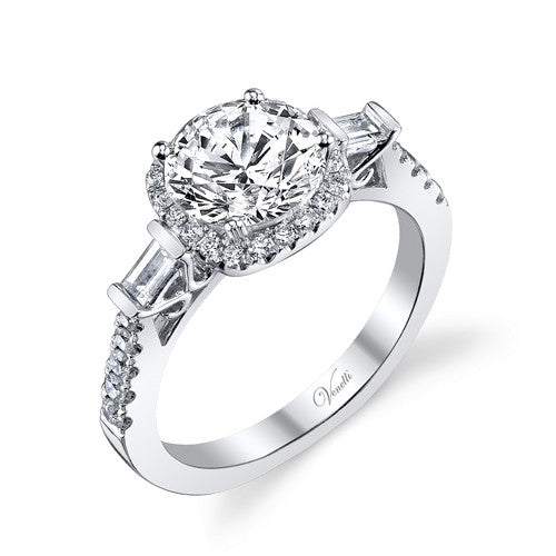 14K W RING 46RD 0.38CT, 2BG 0.13CT