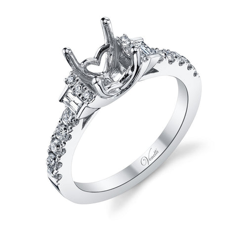 14K W RING 16RD 0.36CT, 2BG 0.11CT