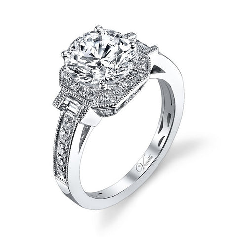 14K W RING 38RD 0.40CT, 2BG 0.17CT